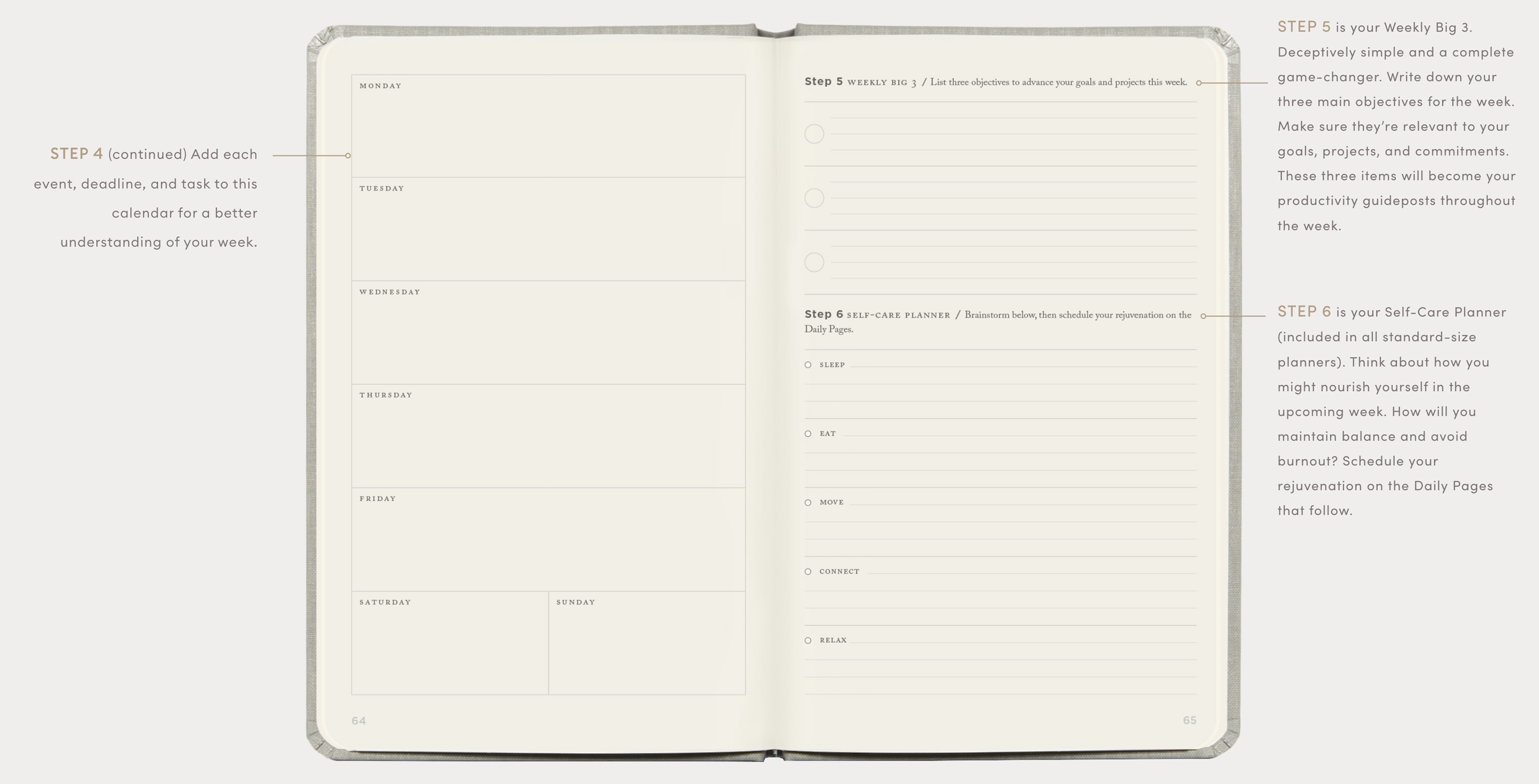 Full Focus Planner weekly preview pages continued